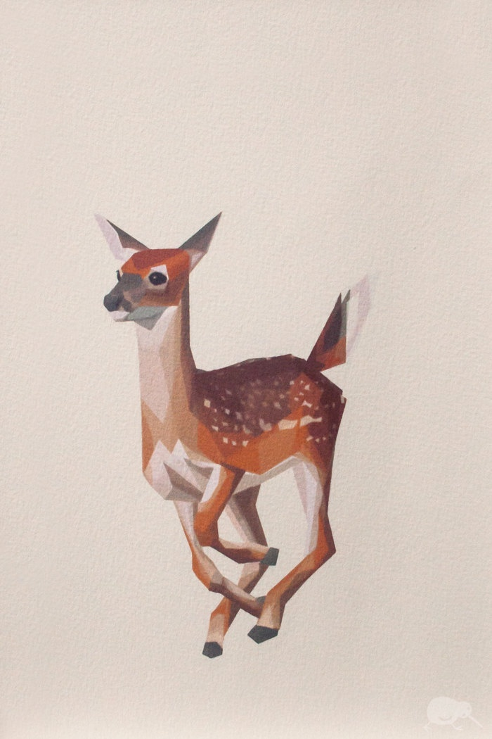 Geometric illustration, Bambi, Baby Deer, Animal print ...
