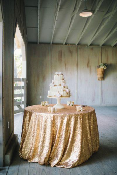 Gold Sequin Tablecloth Linen Cake Table Wedding Ideas Pinterest
