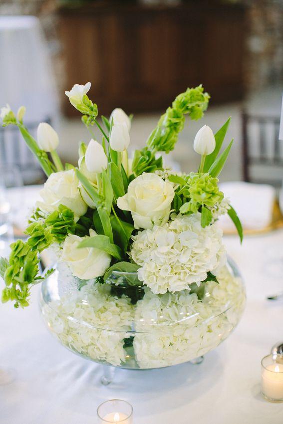 White rose and hydrangea arrangement