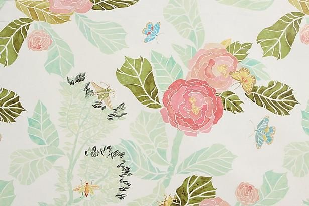 Anthropologie watercolor peony wallpaper design pr for Anthropologie wallpaper