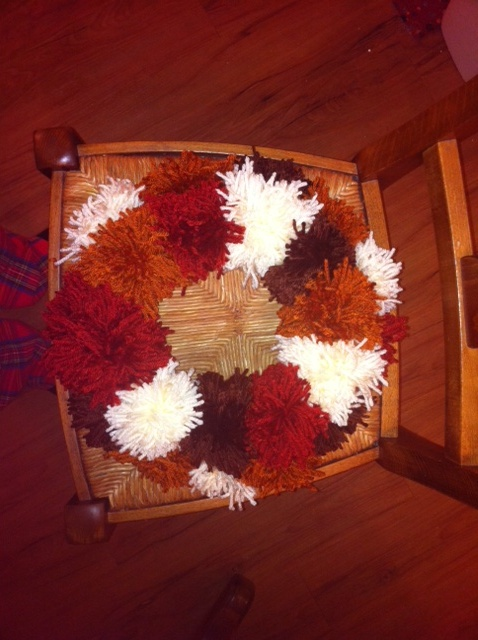 My (sister's) Handmade Pom Pom Wreath