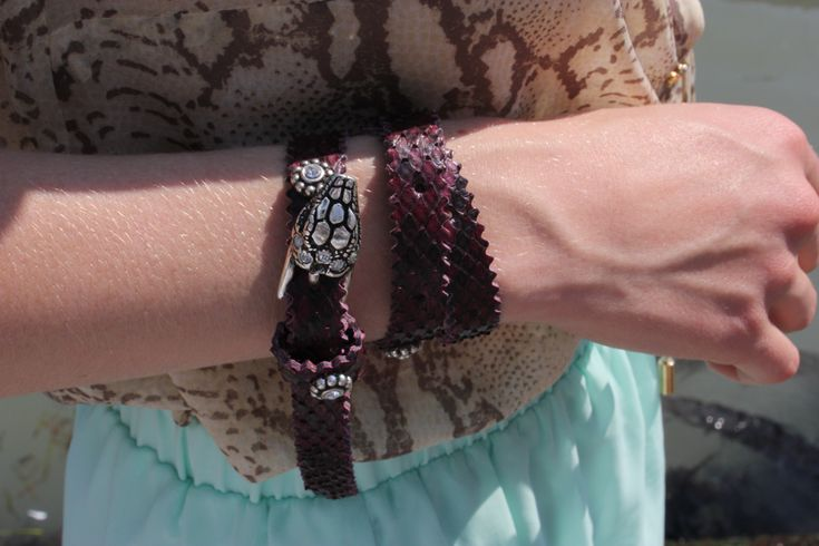 Snakeskin leather wrap bracelet from the Florence Leather School (Santa Croce monastery)