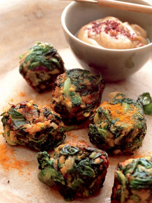 Crunchy Red Swiss Chard Falafel from CookingChannelTV.com