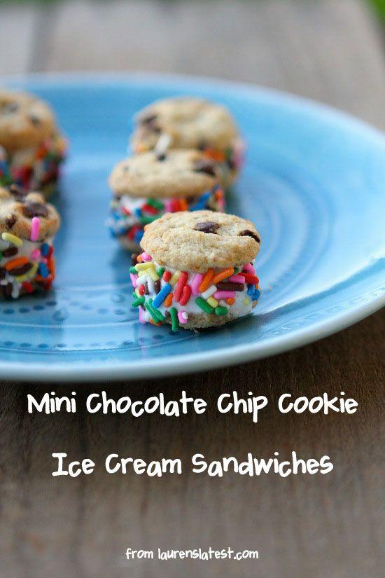 Mini Chocolate Chip Cookie Ice Cream Sandwiches | Recipe