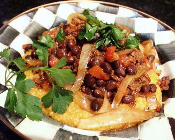Pumpkin Polenta With Chorizo and Black Beans from Food.com: Rachael ...