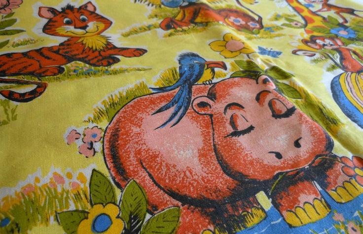 Vintage animal themed childrens juvenile novelty fabric for Novelty children s fabric