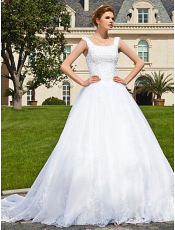 Beautiful Ball Gown Off-Shoulder Satin and Lace Chapel Train Wedding ...