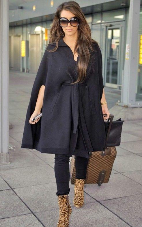 Kim Kardashian In A Poncho Coat Ponchos And Sweater Looks Pintere