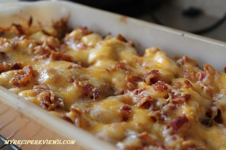 Loaded Potato and Buffalo Chicken Casserole - cheesy and spicy!