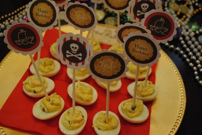 ... party appetizer of deviled eggs with smoked salmon, capers and chive