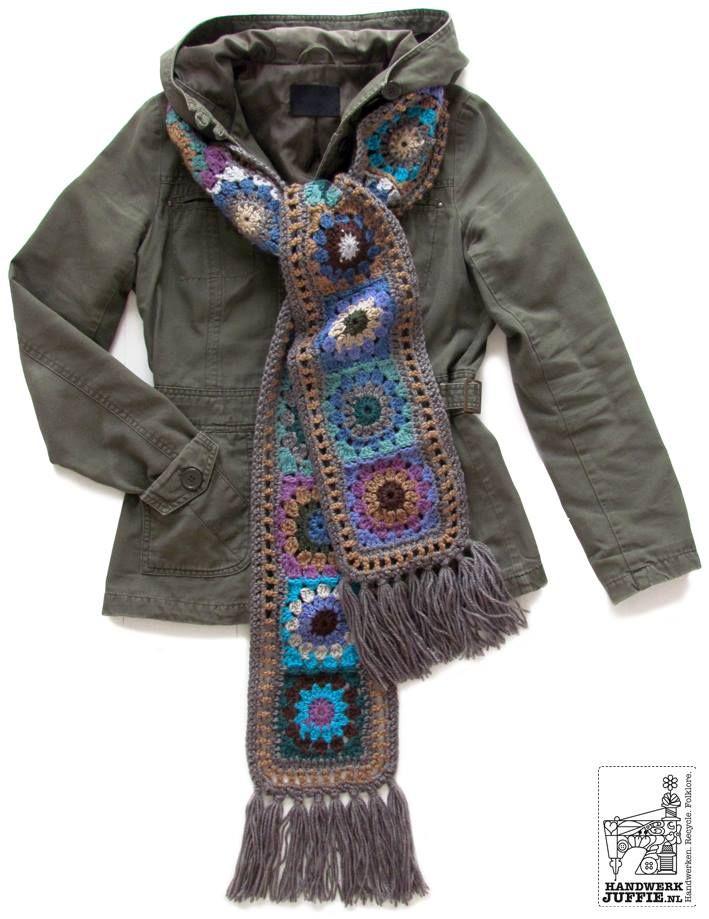 granny square scarf Pretty crochet Pinterest