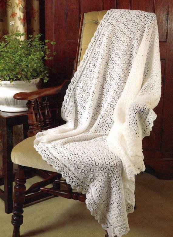 Baby Shawl Knitting Pattern To Download : Baby 3 ply Lace Christening Shawl - PDF of a Vintage Knitting Pattern?