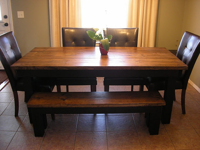 Farmhouse Table With Chairs And Bench For The Home
