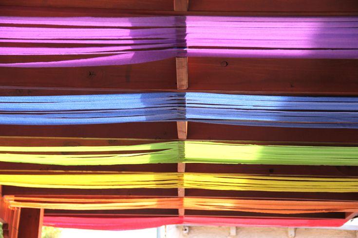 diy rainbow streamer ceiling color love pinterest