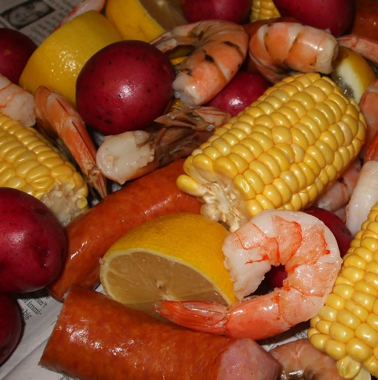 Crock Pot Dinner: Slow Low Country Boil (corn on the cob, sausage, red potatoes, shrimp, lemon, water).