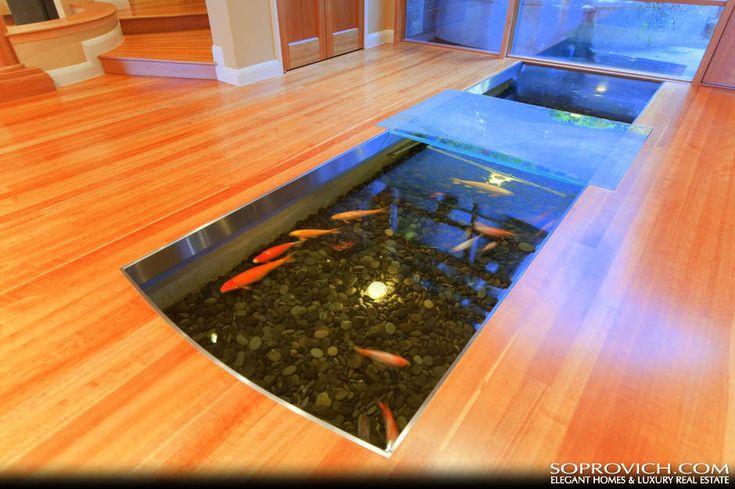 Indoor Fish Ponds : Glass over indoor fish pond.  Fish in My Floor  Pinterest