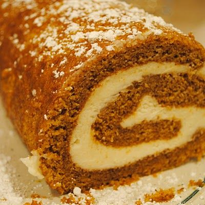 Pumpkin Roll with Maple Cream Cheese Frosting. This is so delicious! Perfect for Fall :)