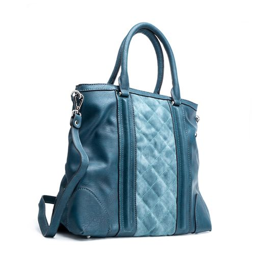 Blue Leather Tote, Laptop Bag, Blue Handbag, Blue
