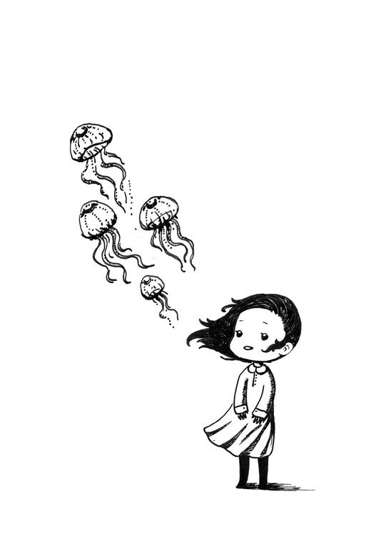 "Saatchi Online Artist: Indrė Bankauskaitė; Pen and Ink, Drawing ""Girl and the Jellyfish"""