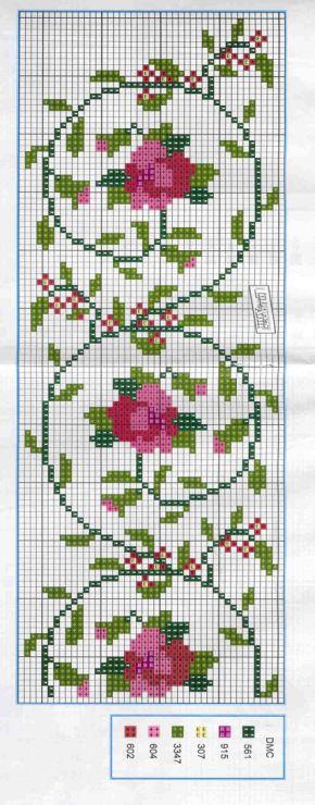 Вышивка цветов крестом для рушника