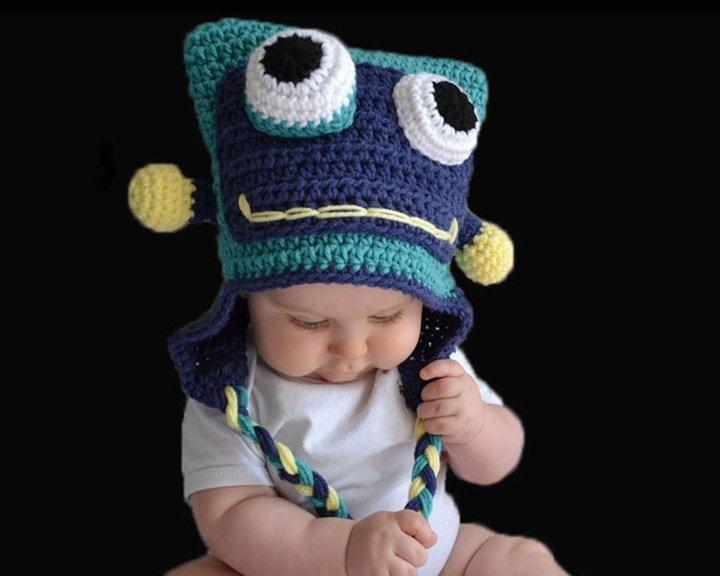 Crochet Robot Hat Baca Creations Crochet Pinterest