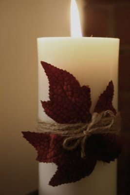 Easy fall DIY - candle, twine, faux leaves
