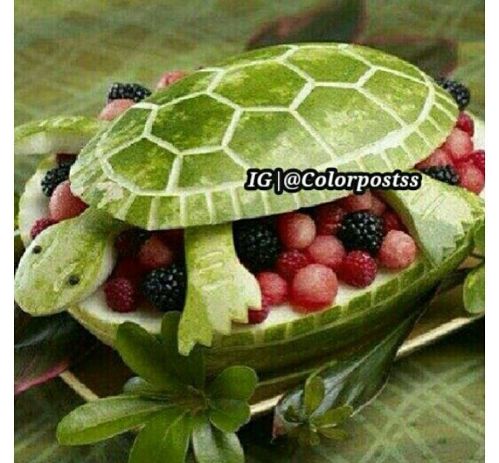 Fruit Basket Art Ideas : Turtle watermelon fruit basket princess birthday