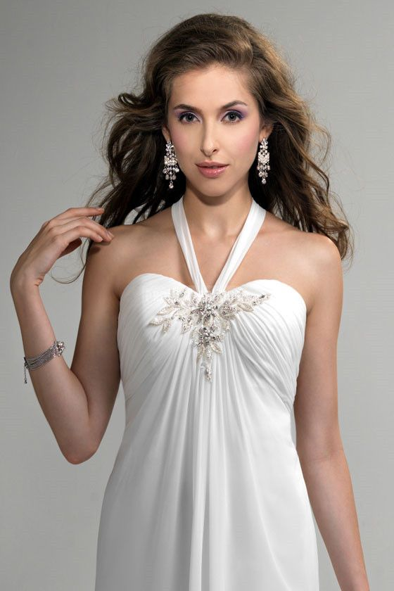 Applique white chiffon court train breezy a line wedding dress