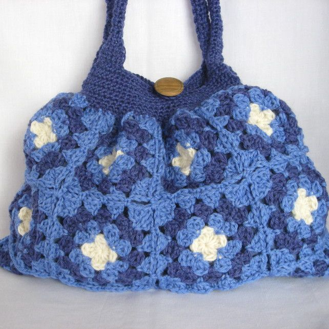 Crochet blue granny bag. Very roomy. Lined with pocket by PollyKrafts
