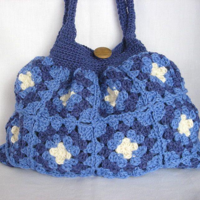 Granny Bag Crochet : Crochet blue granny bag. Very roomy. Lined with pocket by PollyKrafts