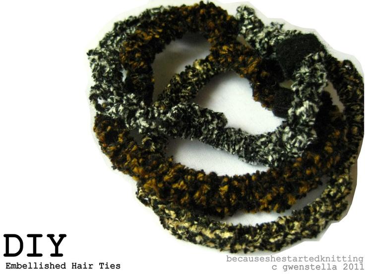 Crochet Embellished Hair Ties : Embellished crocheted hair ties Little Girls Pinterest