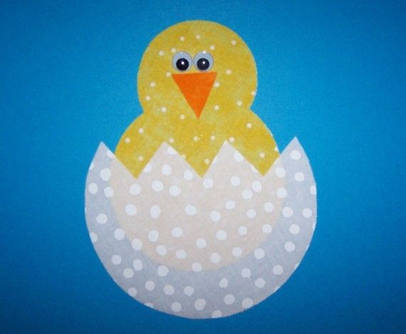 Fabric applique template only easter baby chick for Easter chick templates free