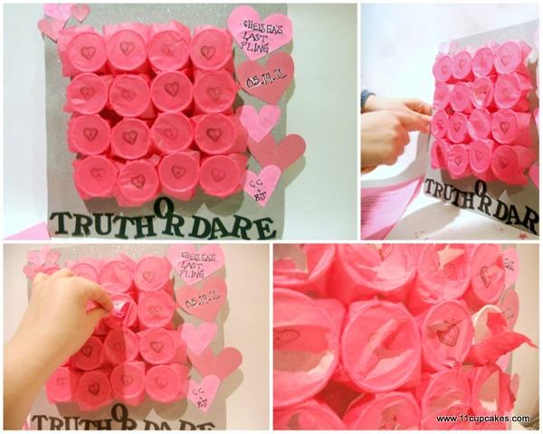 """Truth or Dare"" board for a bridal shower or batchelorette."