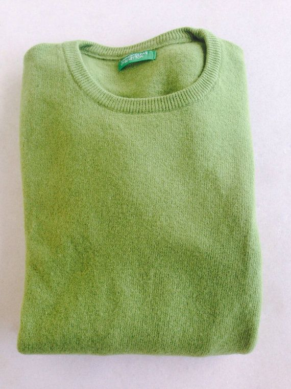 Vintage Benetton wool ladies sweater mint color size small on Etsy, 14