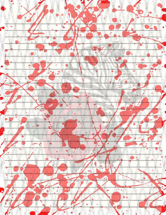 Blood Splattered Gothic Lined Paper Download by TheGraniteZebra, $5.00