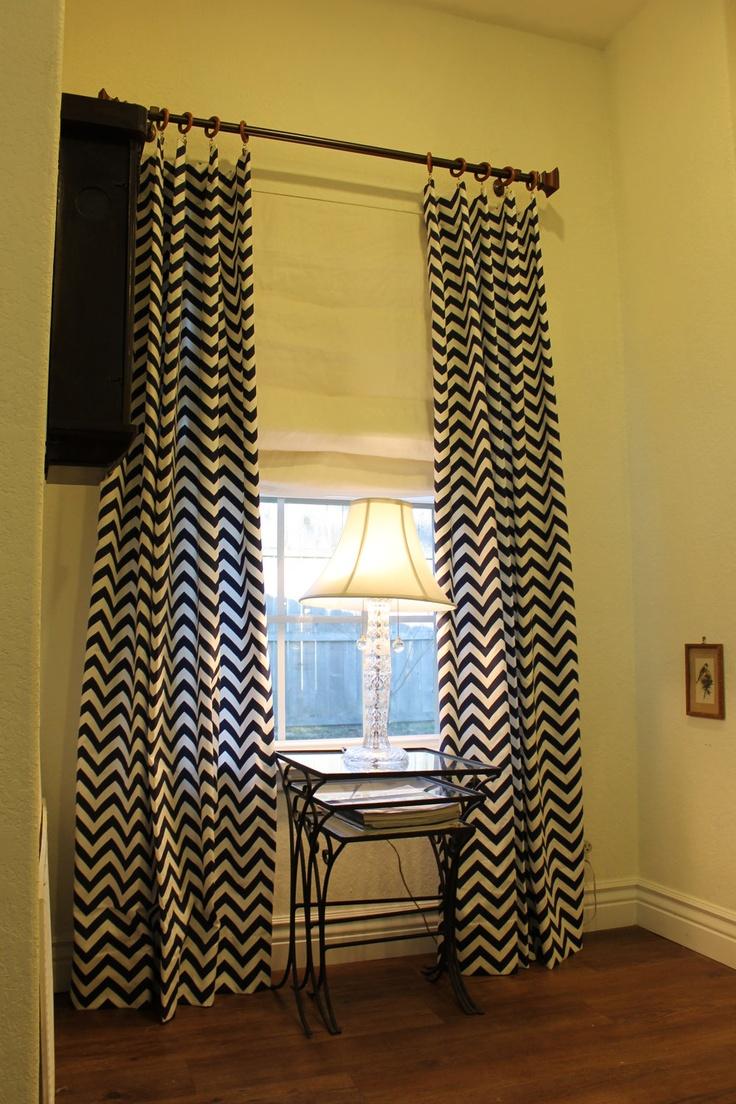 84 navy zigzag chevron curtain panel via etsy order
