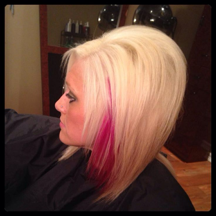 Platinum blonde hair with pink