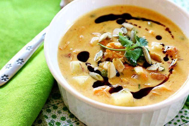 Looks Delicious! Pumpkin-Coconut Chowder with Shrimp