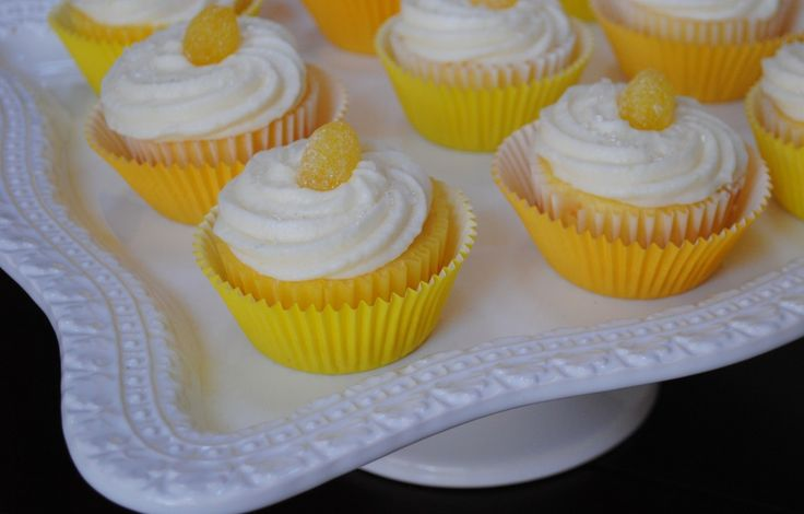 lemon cupcakes: lemon cake mix, lemon pudding, lemon frosting