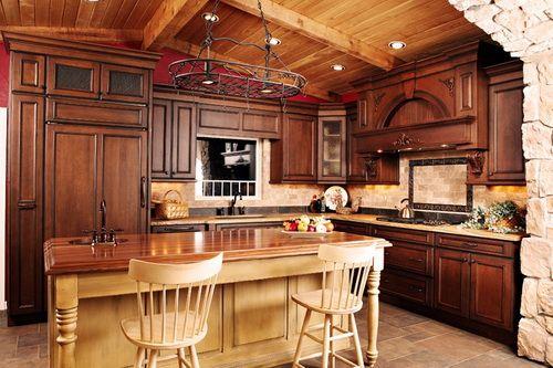 rustic hickory kitchen cabinet  Kitchen  Pinterest