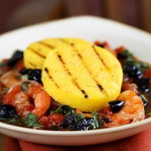 Grilled Polenta with Shrimp & Escarole | Recipe