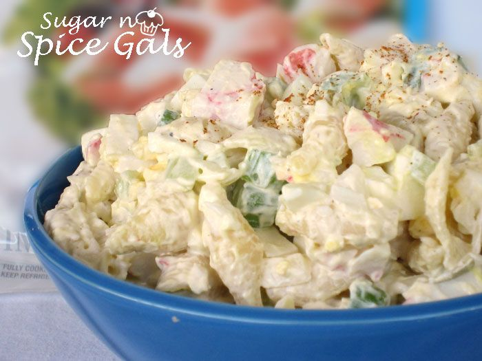 Spice Gals: Jo's Crab Pasta Salad with celery, onion, hard boiled eggs ...