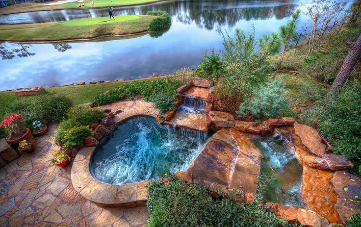 backyard spa on golf course yard garden pinterest