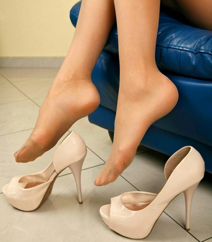 She's bitchy. pantyhose heels feet