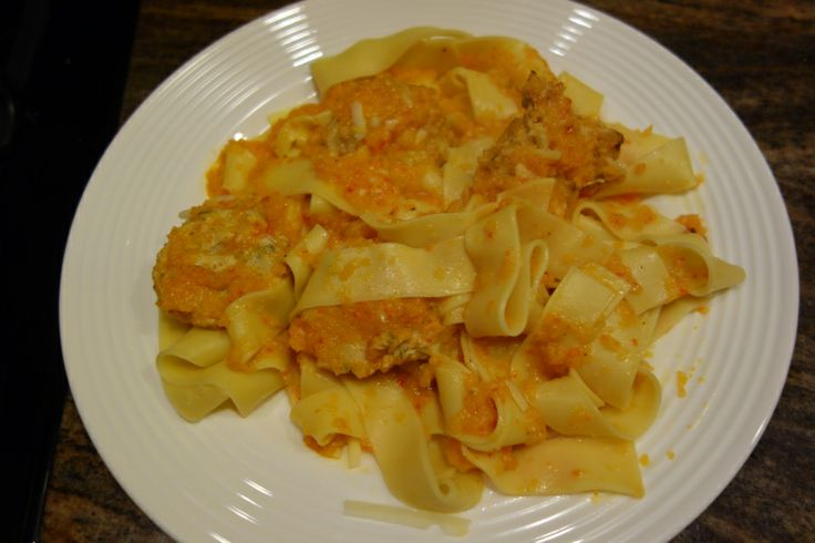 Pappardelle with Peperonata & Chicken Meatballs