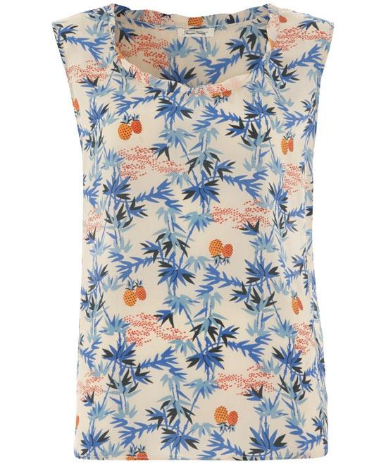 Blue Pineapple Print Silk Tank Top, American Vintage
