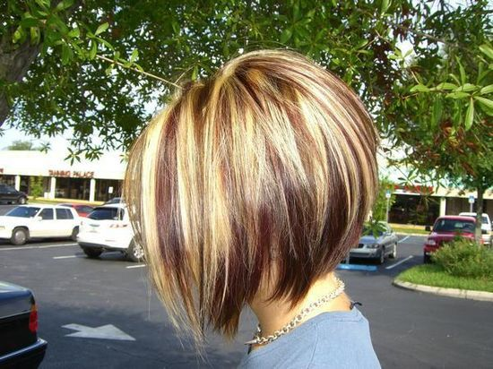 Red Blonde and Brown Highlights with an Inverted Bob |