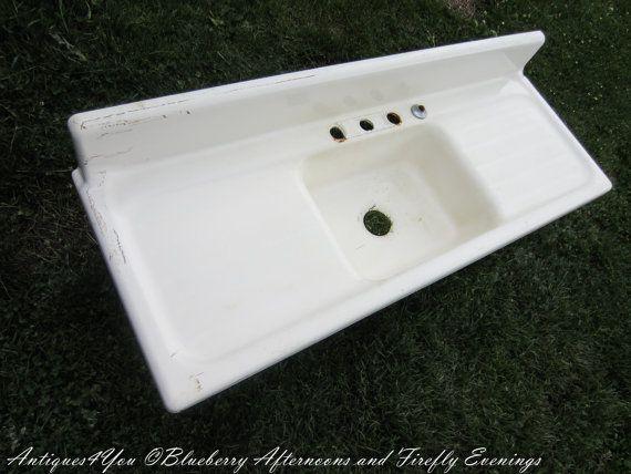SALE Cast Iron Farmhouse Kitchen Sink Vintage by Antiques4You $795 00