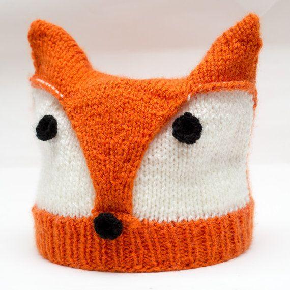 Knitting Pattern For Fox Hat : Hand knit Fox Hat