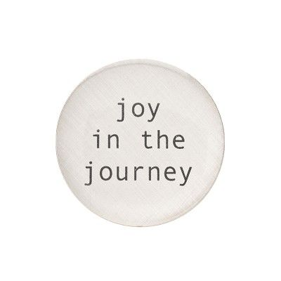 "Tiny type with the message ""Joy in the Journey"" a reminder that life is a journey not a destination enjoy it. #rings"